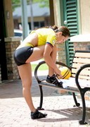 Andrea Calle working out