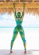 Big booty babe in body paint