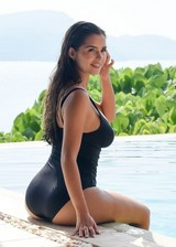 Thick babe in a swimsuit