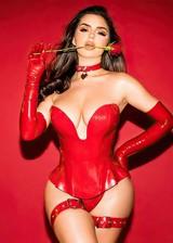 Demi Rose Mawby in latex lingerie