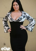 Thick girl in a black dress