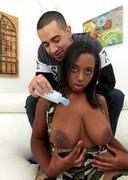 Ebony babe getting naked
