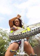 Jada Fire nude on a bike