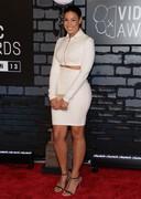 Jordin Sparks in a white dress