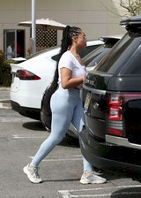 Jordyn Woods in leggings