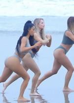 Kim Kardashian yoga at the beach