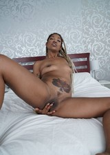 Black girl strips in bed