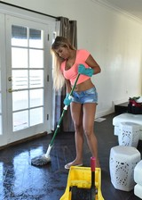 Latina maid cleans naked