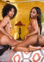 Ebony mother and daughter
