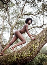Ebony babe nude outdoors