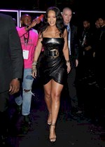 Rihanna in a leather dress