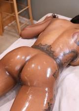 Ebony babe oil massage