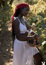 Ebony babe naked in a field