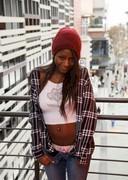 Ebony babe flashing in public