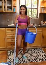 Latina maid cleaning naked