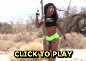 Black action girl in the desert